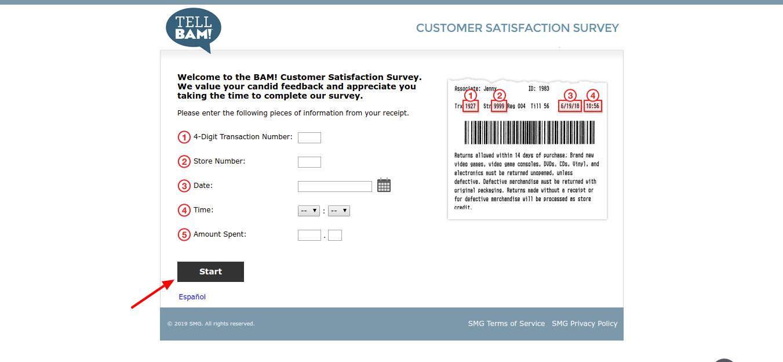 BAM Customer Satisfaction Survey Welcome