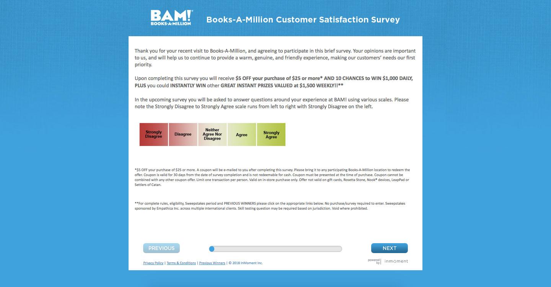 Books a Million Customer Satisfaction Survey