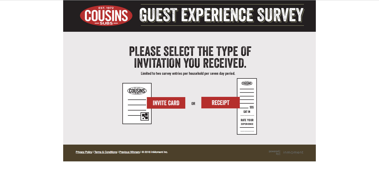 Cousins Subs Customer Experience Survey