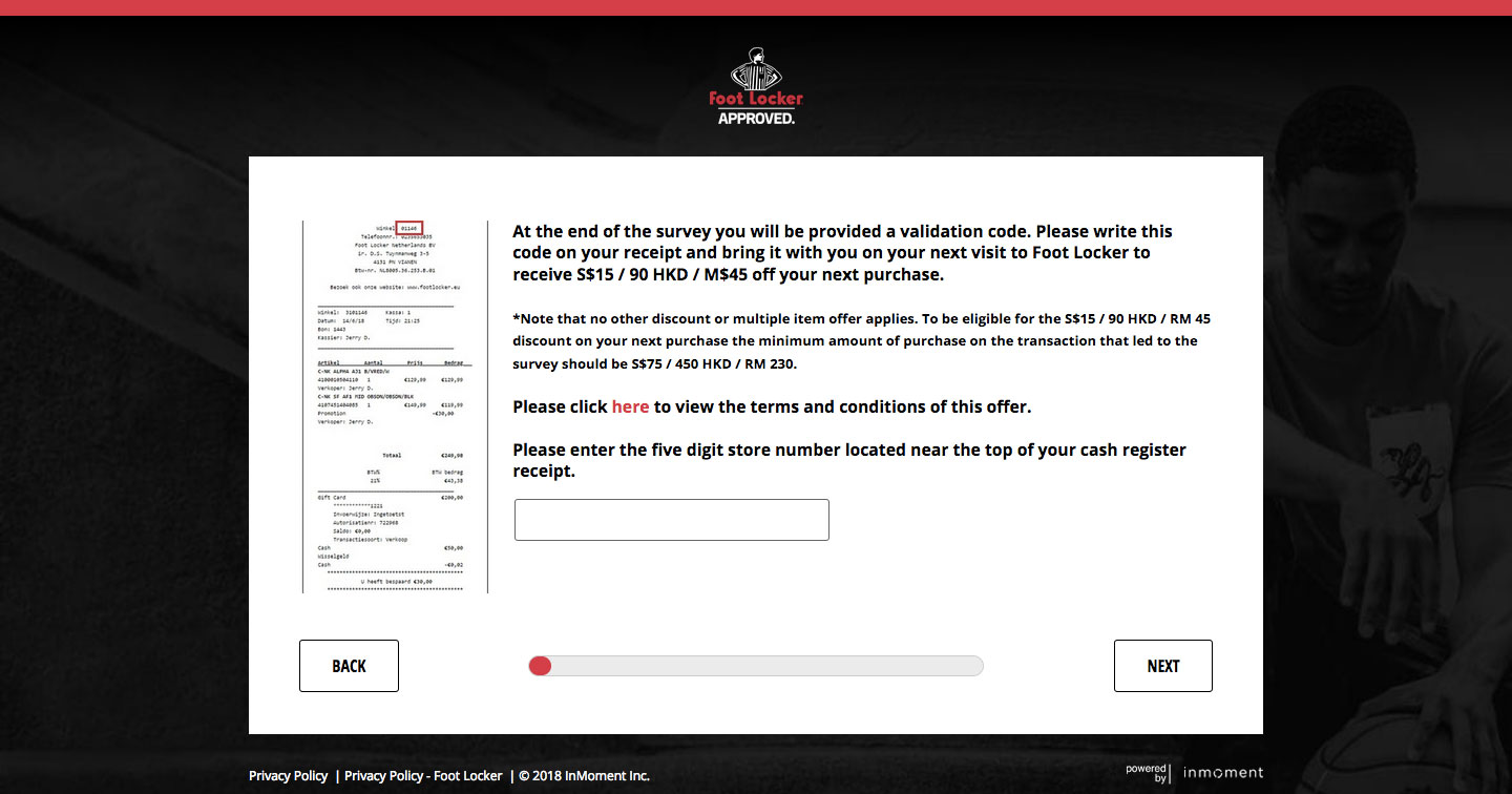 Foot Locker Guest Experience Survey