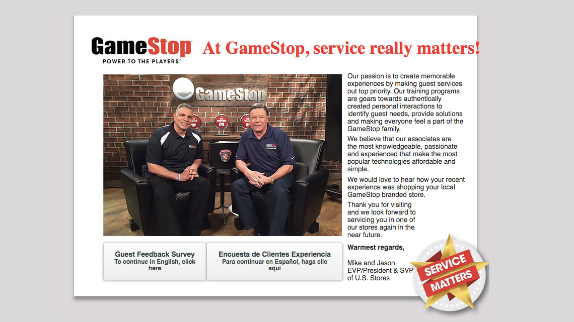 GameStop Guest Feedback Survey