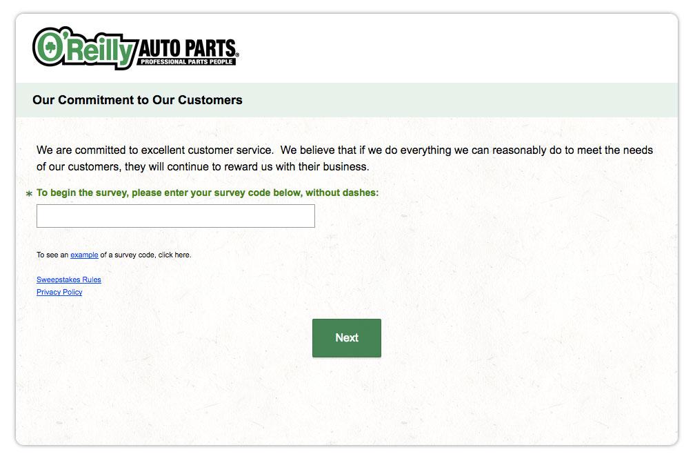 O'Reilly Auto Parts Customer Feedback Survey
