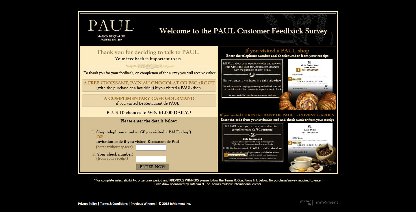 PAUL Customer Feedback Survey