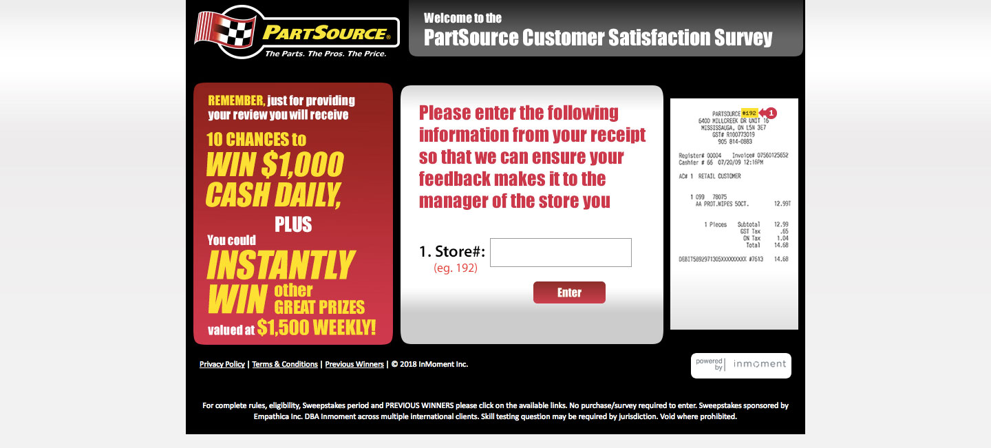 PartSource Customer Satisfaction Survey