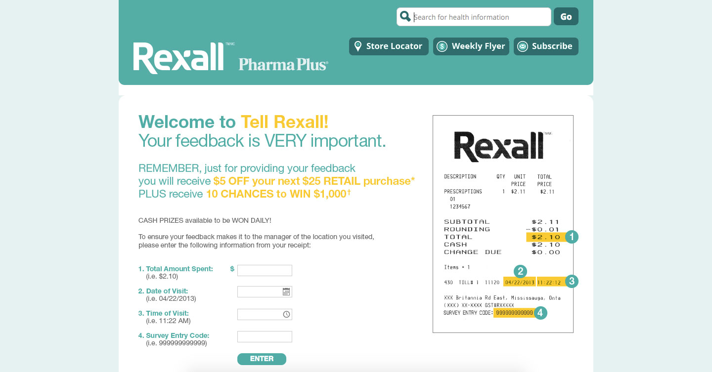 Rexall Customer Feedback Survey