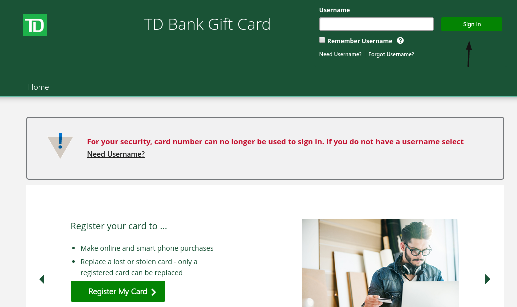TD Bank Gift Card Login