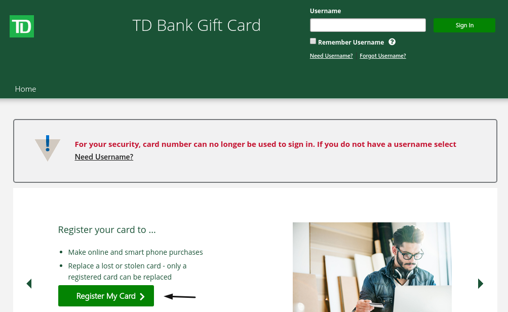 TD Bank Gift Card Register