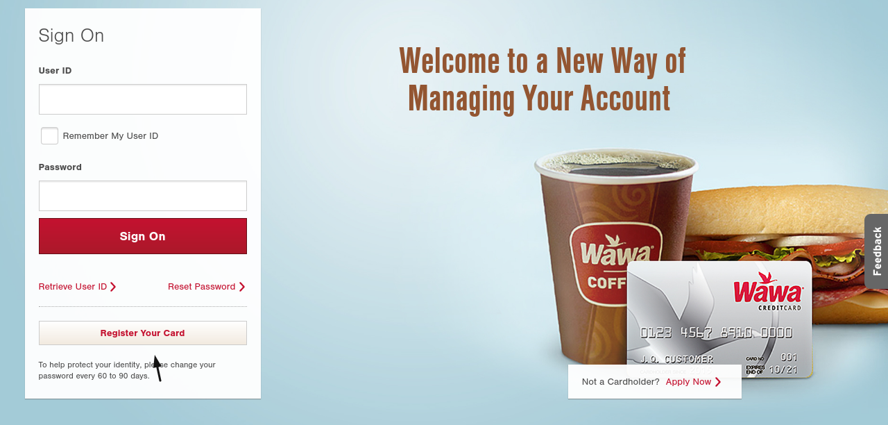 Wawa Credit Card Register
