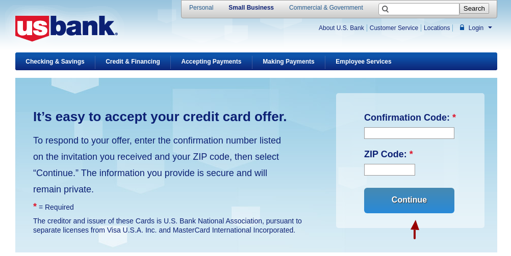 Accept Mail Offer U S Bank