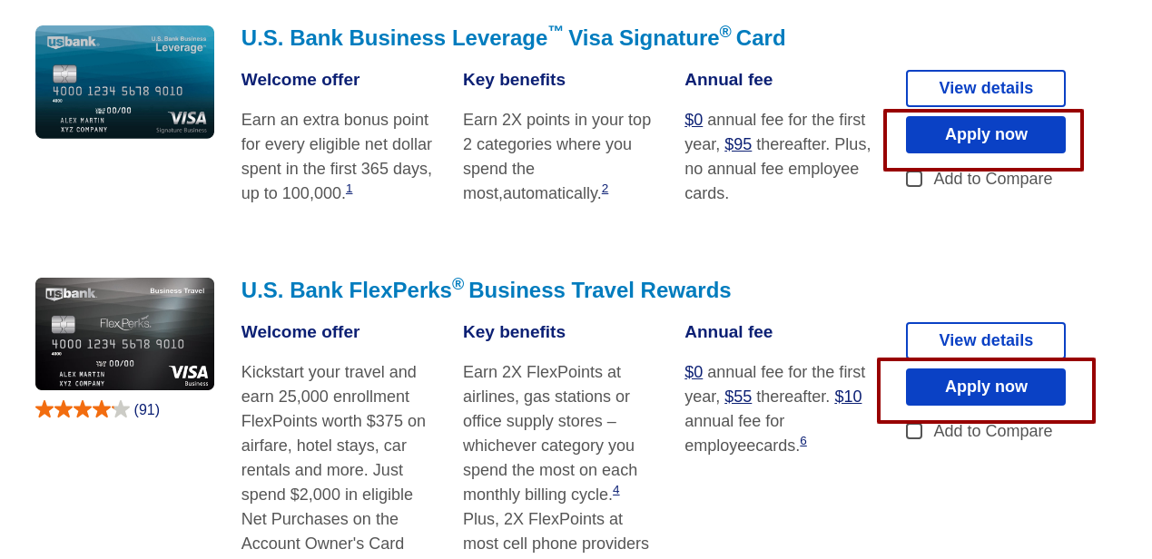 U S Bank credit cards apply
