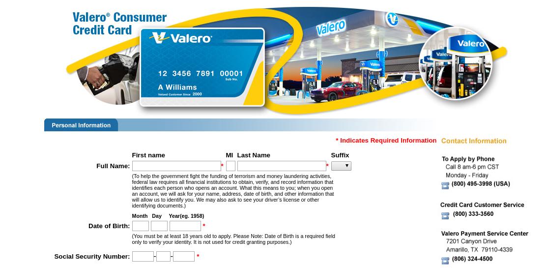 Valero Credit Card Apply