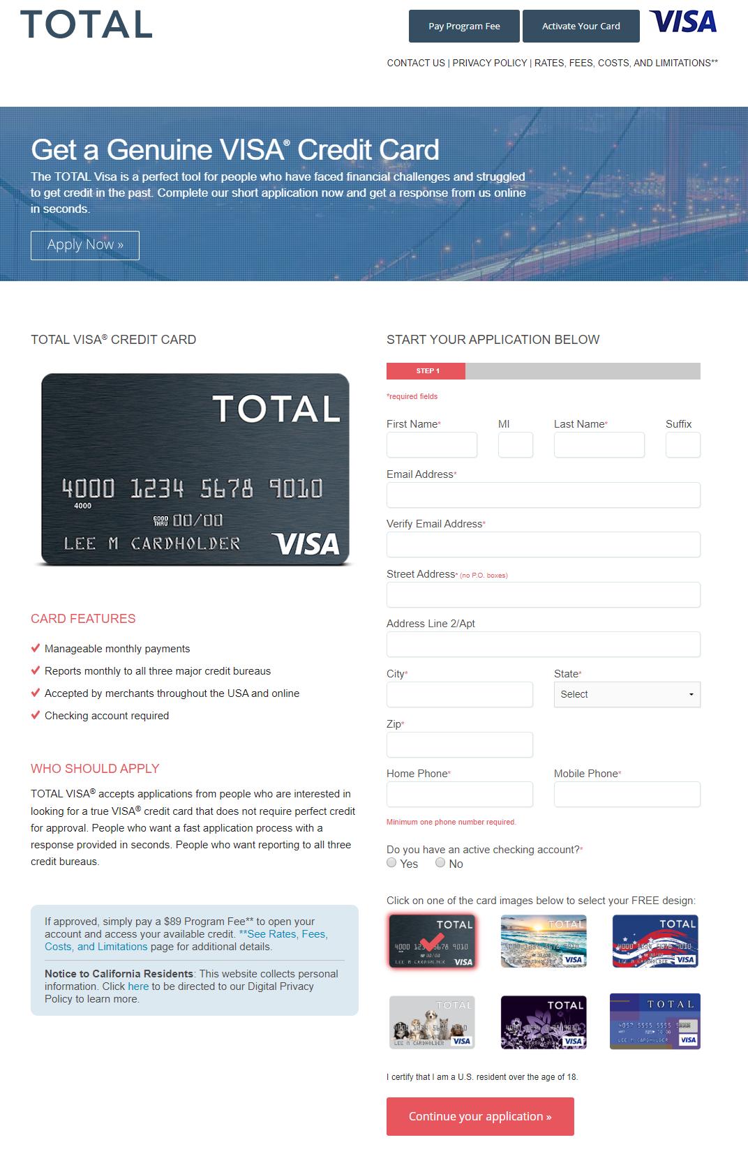 Apply for Total Visa Credit Card