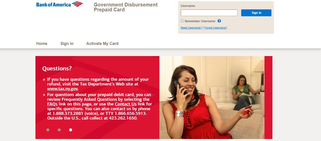 Bank of America Government Disbursement Prepaid Card activate