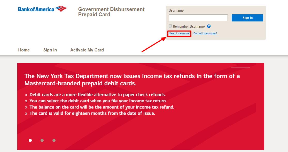 Bank of America Government Disbursement Prepaid Card