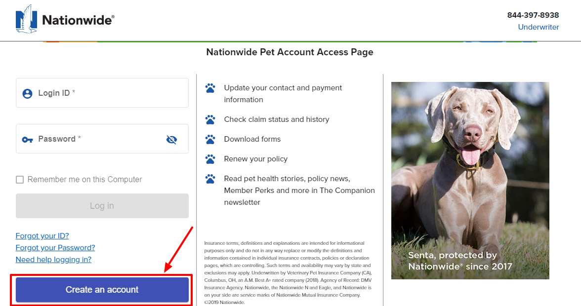Create an account with Nationwide Pet account