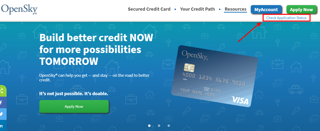 Open Sky Secured Visa Card application status check