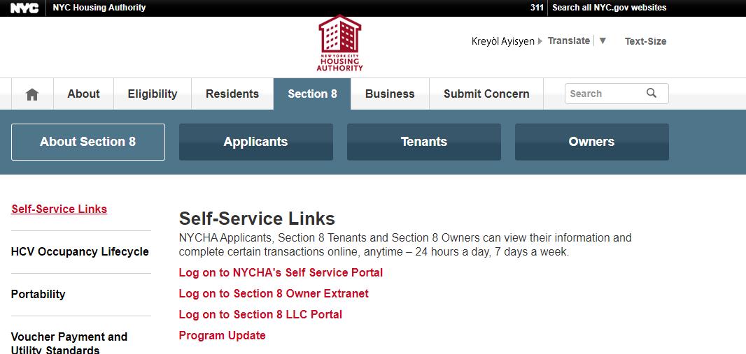 NYCHA portal login