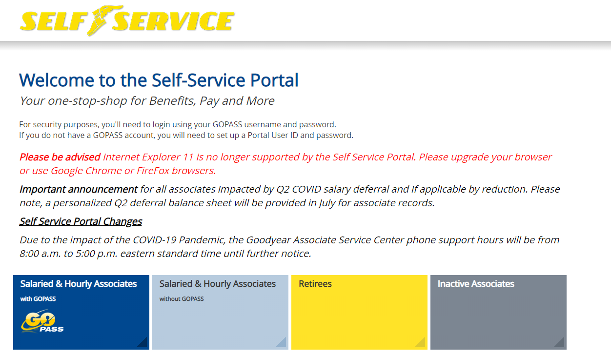 Your Goodyear Self Service Account