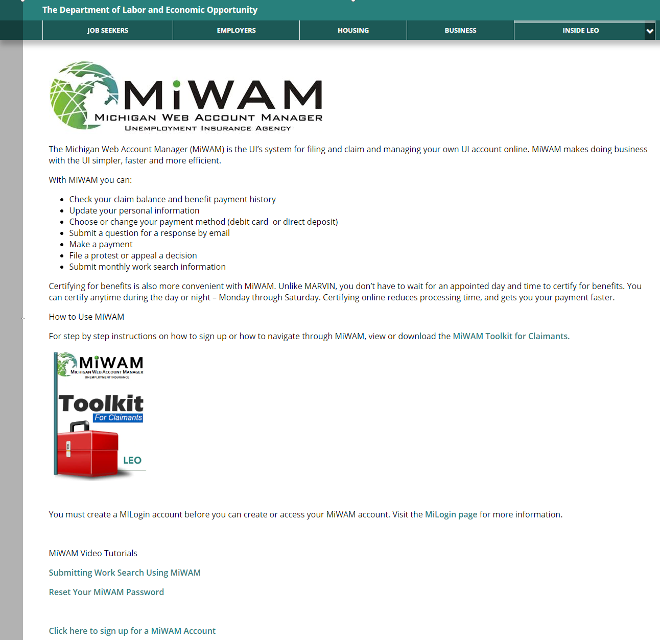 MiWAM Login Process