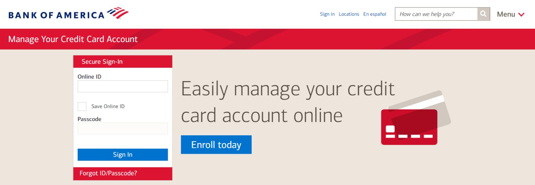 Bank Of America Credit Card Login portal