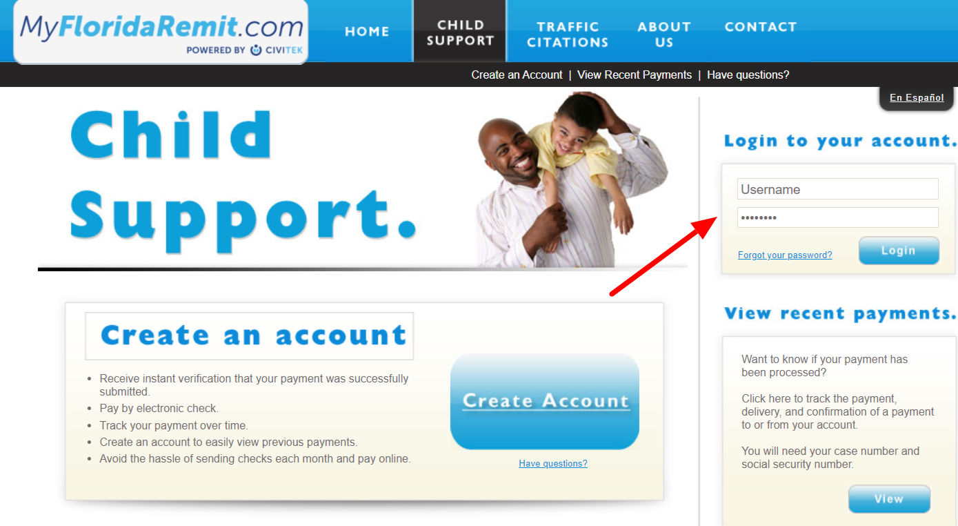 MyFlorid Remit Child Support