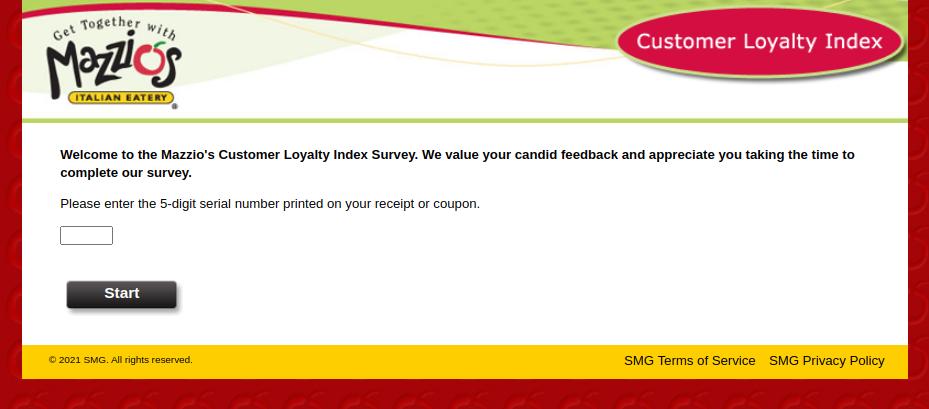 Mazzios Loyalty Survey
