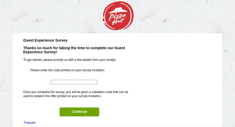 PizzaHut Canada Survey