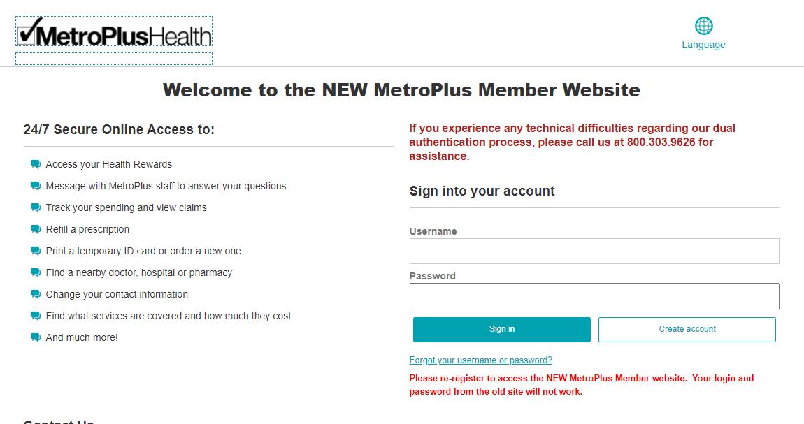 MetroPlus Member Login
